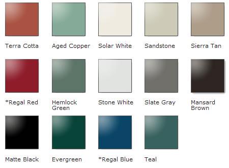 Metal Roof Color Chart Waupaca Wi Steel Metal Roofing Steel